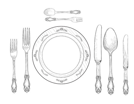 Table setting set. Fork, Knife, Spoon, plate sketch set. Cutlery hand drawing collection. Catering engraved vector illustration. Restraunt service.  Banquet  still life Vettoriali