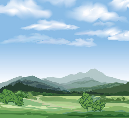 mountain road: Rural landscape with mountains. Vector countryside view with forest, field and hills