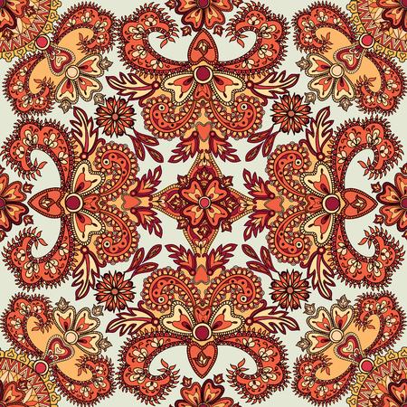 an embroidery: Florecer modelo tejado. Fondo geom�trico floral abstracto sin fisuras oriental. flores y hojas fant�stico. Pa�s de las maravillas motivos asi�tico de la pintura de la mandala �rabe. Modelo de la tela de la India.