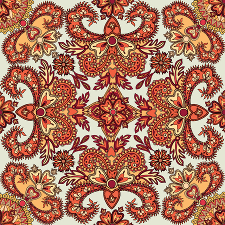 tiles: Flourish tiled pattern. Abstract floral geometric seamless oriental background. Fantastic flowers and leaves. Wonderland asian motives of the paintings of arabic mandala. Indian fabric pattern. Illustration