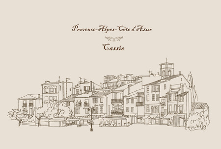 historic building: Street cafe in old city. Cityscape - houses, buildings and tree on alleyway. Old city view. Medieval european castle landscape. Pencil drawn editable vector sketch