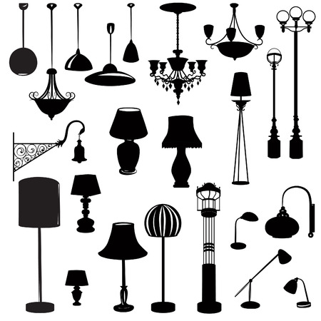 lampshade: Interior furniture icons. Ceiling lamp icon set. Silhouette ceiling lamps light for home appliance indoor furniture.