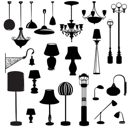 meubles d'intérieur icônes. Plafonnier icon set. lampes de plafond Silhouette lumière pour le mobilier intérieur de l'appareil à domicile.