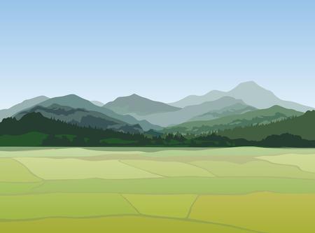 Sunset landscape vector: cảnh quan nông thôn với những ngọn núi. Vector khung cảnh thôn