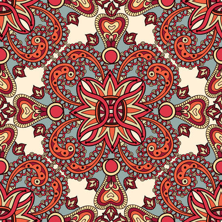 oriental rug: Flourish tiled floral geometric seamless pattern. Abstract oriental background. Fantastic flowers and leaves. Wonderland ornament motives of the paintings of arabic mandala. Indian fabric pattern.