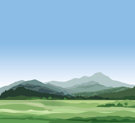 Rural landscape with mountains. Vector countryside view with forest, field and hills