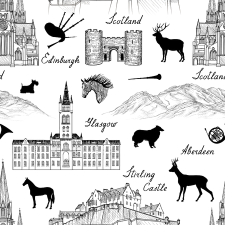 Travel  Scotland famous cities landmark with handmade calligraphy. Edinburgh, Glasgow, Aberdeen city seamless pattern for your design. Architectural monuments and buildings engraved sketch  UK textured background  イラスト・ベクター素材