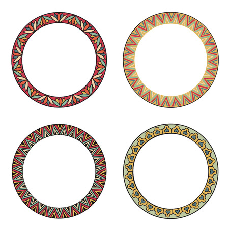 blank banner: Frame set. Different design frames collection. Vector set of vintage photo frames in oriental style with antique floral geometric ornament