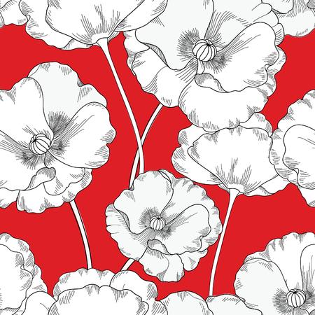 poppy: Modelo inconsútil floral. Fondo de la flor. Azulejo Textura floral ornamental con flores. Primavera jardín florezca Vectores