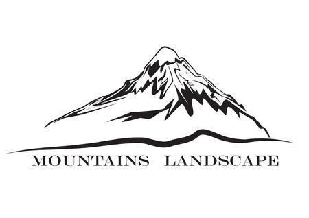 山の風景。抽象的な高山サイン  イラスト・ベクター素材