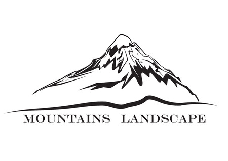 Mountains landscape. Abstract high mountain sign