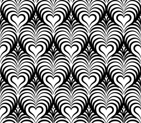 forme geometrique: Abstract seamless floral avec ornement en forme de coeur de ligne noir et blanc Swirl doodle géométrique texture. ondes ornemental effet optique de fond. Illustration
