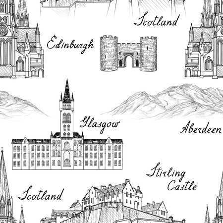 Travel  Scotland famous cities landmark with handmade calligraphy. Edinburgh, Glasgow, Aberdeen city seamless pattern for your design. Architectural monuments and buildings engraved sketch  UK textured background Ilustração