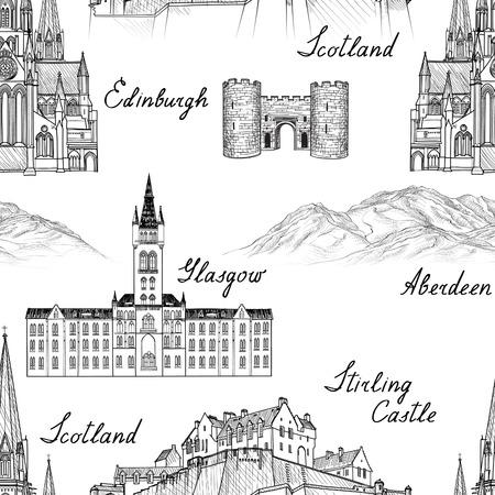 Viajar Escocia ciudades famosas hito con la caligrafía hecha a mano. Edimburgo, Glasgow, modelo inconsútil de la ciudad de Aberdeen para su diseño. monumentos y edificios grabado boceto fondo con textura de arquitectura del Reino Unido