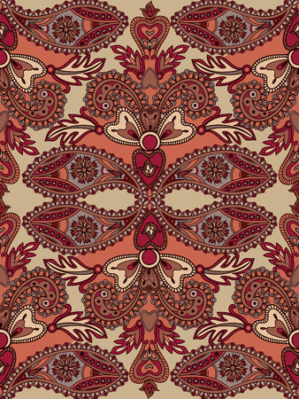 oriental rug: Abstract floral geometric seamless pattern.  Flourish tiled oriental background. Fantastic flowers and leaves. Wonderland motives of the paintings of arabic mandala. Indian fabric pattern.