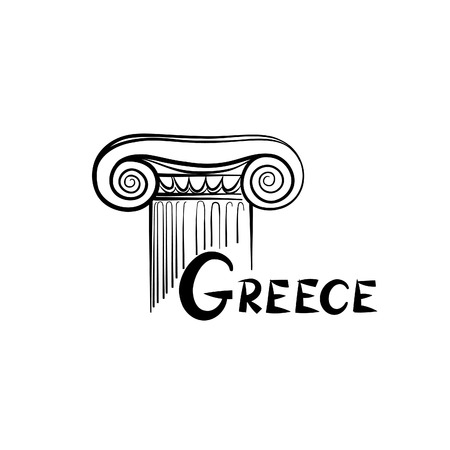 ionic: Greece symbol. Ionic column. Travel Greece label Illustration