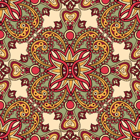 Flourish tiled floral geometric seamless pattern. Abstract oriental background. Fantastic flowers and leaves. Wonderland ornament motives of the paintings of arabic mandala. Indian fabric pattern.