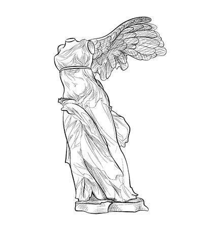 templo griego: famosa estatua griega Nike. símbolo de la antigua Grecia