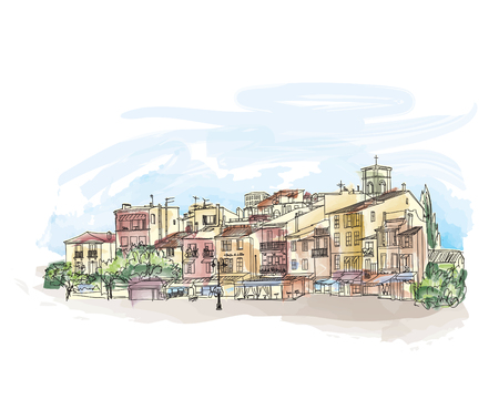 Old city street with shops and cafe. European cityscape. Cityscape - houses, buildings and tree on alleyway. Old city view. Medieval european watercolor landscape. Pencil drawn vector colored sketch. Cote dAzur Cassis skyline. Çizim