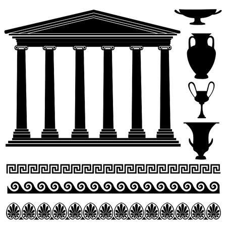 templo griego: colección de silueta símbolo griego. Viajes Grecia conjunto de iconos Vectores