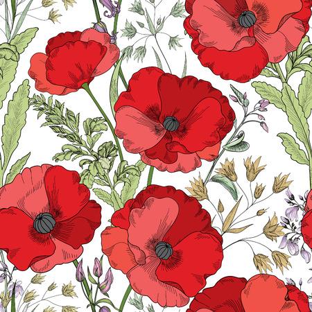 ornamental garden: Floral seamless pattern. Flower poppy background. Flourish tiled ornamental texture with flowers. Spring floral garden