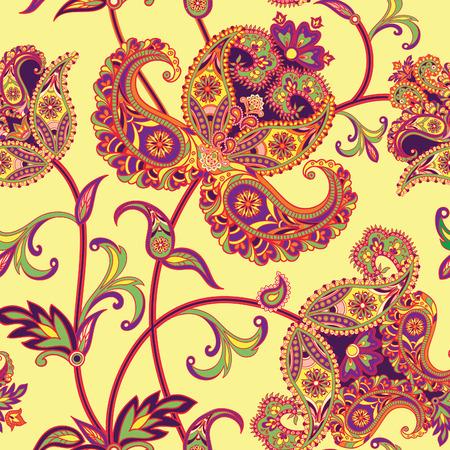 Flourish motif carrelé. Abstract floral géométrique fond oriental transparente. des fleurs et des feuilles fantastiques. Wonderland motifs des peintures de mandala arabique. motif de tissu indien.