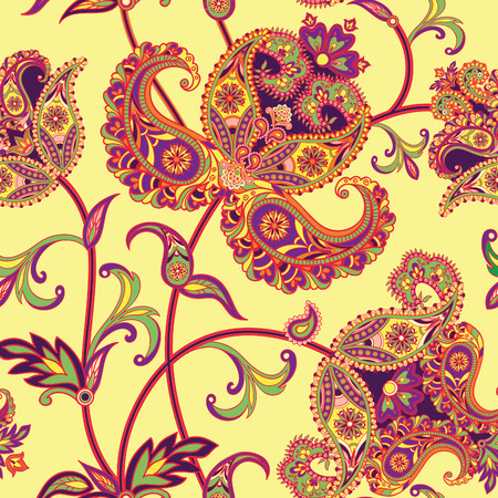 indian yoga: Flourish tiled pattern. Abstract floral geometric seamless oriental background. Fantastic flowers and leaves. Wonderland motives of the paintings of arabic mandala. Indian fabric pattern.