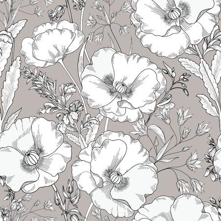 Bloemen naadloos patroon. Bloem achtergrond. Bloemen naadloze textuur met bloemen. Floreren betegeld behang