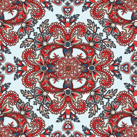 Flourish tiled pattern. Abstract floral geometric seamless oriental background. Indian fabric pattern.