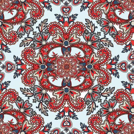 Floreren betegeld patroon. Abstracte bloemen geometrische naadloze oosterse achtergrond. Indische stof patroon.