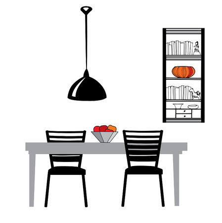 set table: Kitchen furniture set: table, chairs, lamp and cupboard  Dining Room Interior Vector Illustration Illustration