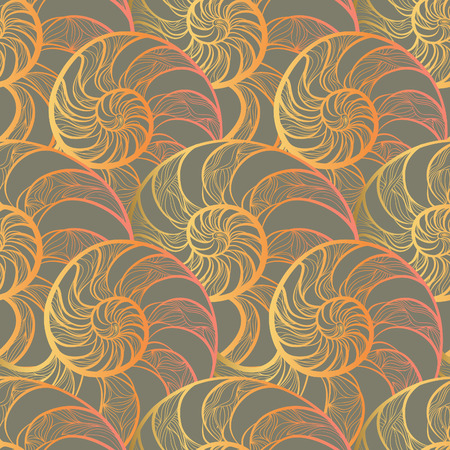 molusk: Abstract ornamental spiral seamless  outline pattern. Stylish seashell nautilus textured geometric background