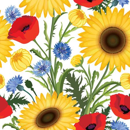 Cornflower: Floral seamless pattern. Flower poppy, sunflower, cornflower weadow background. Floral tile ornamental texture with flowers. Summer  flourish garden