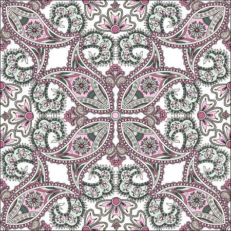 ornamental design: Flourish tiled pattern. Abstract floral geometric seamless oriental background. Fantastic flowers and leaves. Wonderland motives of the paintings of arabic mandala. Indian fabric pattern.