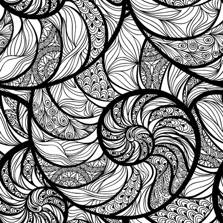 Abstract ornamental spiral seamless black and white outline pattern. Stylish seashell nautilus textured ocean wave geometric background Banco de Imagens - 54853585