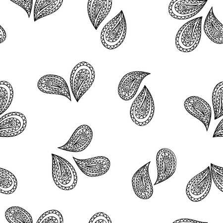 asian and indian ethnicities: Abstract floral seamless pattern with black and white line ornament Swirl geometric doodle texture. Ornamental arabesque lace pattern. Oriental vignette background.