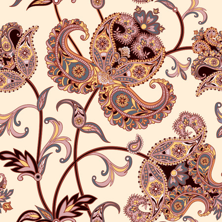 mendi: Floral pattern Flourish tiled oriental ethnic background. Arabic ornament with fantastic flowers and leaves. Wonderland motives of the paintings of ancient Indian fabric patterns.