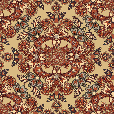 mendi: Floral pattern Flourish tiled oriental ethnic background. Arabic ornament with fantastic flowers and leaves. Wonderland ornamental motives of the paintings of ancient Indian fabric patterns.
