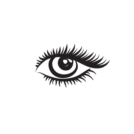 a charming: Eye logo. Vector eye design in minimalistic graphic style. Label with eye. Beautiful eye. Cute eye.