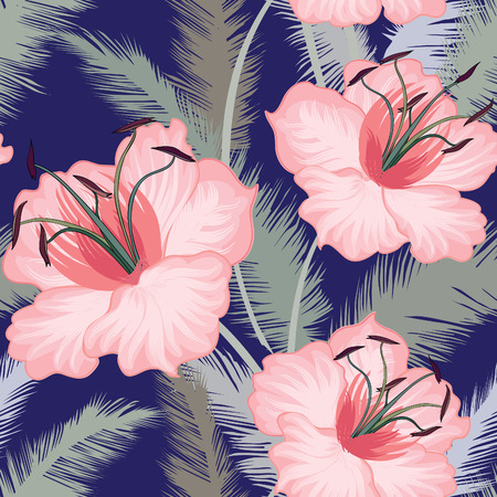 Floral seamless pattern. Flower lily background. Floral tile ornamental texture with flowers. Spring flourish garden Illustration