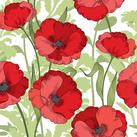 Sin patrón floral. fondo de flor de amapola. Florezca la textura de azulejos ornamentales con flores. Primavera jardín de flores Ilustración de vector