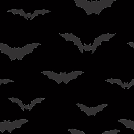 nocturne: Bat silhouette seamless pattern. Holiday Halloween background. Halloween bat texture Illustration
