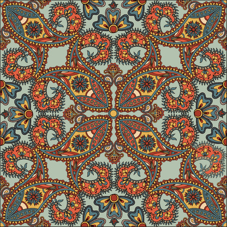 arabic background: Flourish tiled pattern. Abstract floral geometric seamless oriental background. Indian fabric pattern.
