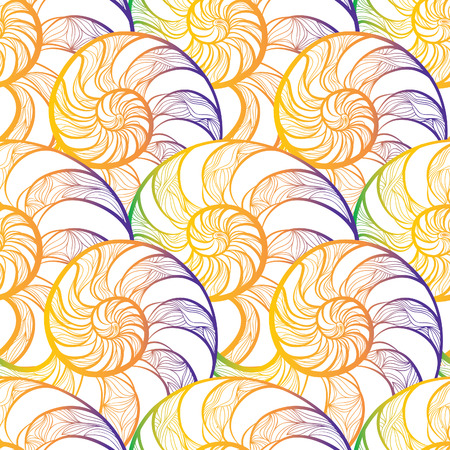 sea shell: Abstract ornamental spiral seamless  outline pattern. Stylish seashell nautilus textured geometric background