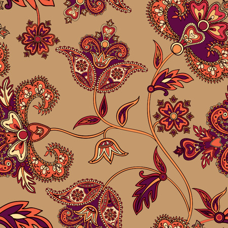 ornamental: Floral pattern Flourish tiled oriental ethnic background. Arabic ornament with fantastic flowers and leaves. Wonderland ornamental motives of the paintings of ancient Indian fabric patterns.