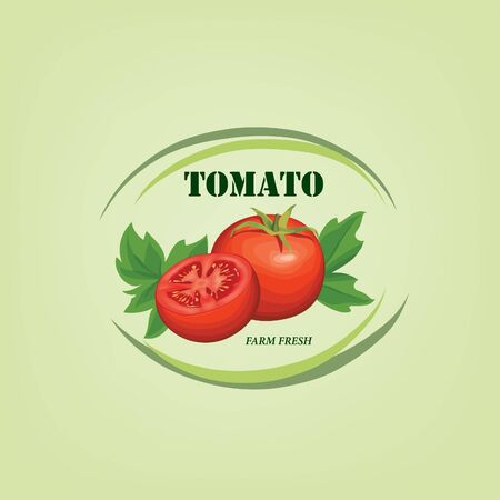 Tomato label. Vegetable logo. Retro sticker of naural product tomatoes.