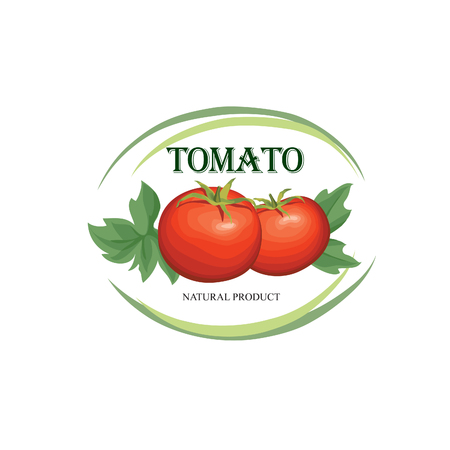 tomatoes: Tomato label. Vegetable logo. Retro sticker of naural product tomatoes.