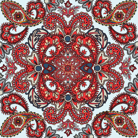 vintage patterns: Flourish tiled pattern. Abstract floral geometric seamless oriental background. Fantastic flowers and leaves. Wonderland motives of the paintings of arabic mandala. Indian fabric pattern.