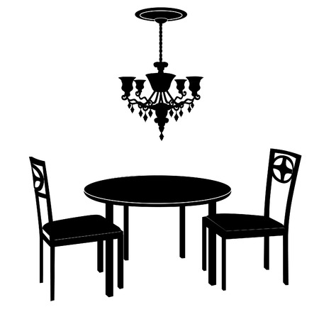 dining room: Interior design of living room with chairs, table and  lamp. Dining room concept interior with classic, modern furniture . Vintage luxury style. Illustration