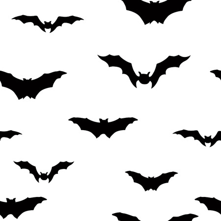 Halloween bat silhouette seamless pattern. Holiday Halloween background